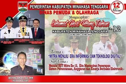Dinas Pemuda Dan Olahraga Kabupaten Minahasa Tenggara Mengucapkan HUT ke-12