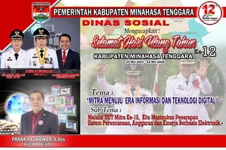 Dinas Sosial Kabupaten Minahasa Tenggara Mengucapkan HUT ke-12
