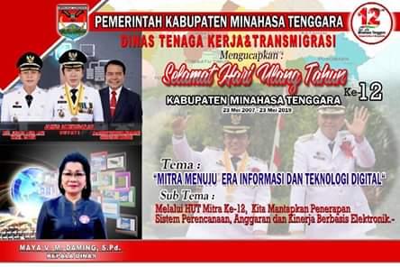 Dinas Tenaga Kerja Dan Transmigrasi Kabupaten Minahasa Tenggara Mengucapkan HUT ke-12
