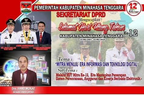 Sekretariat DPRD Kabupaten Minahasa Tenggara Mengucapkan HUT ke-12