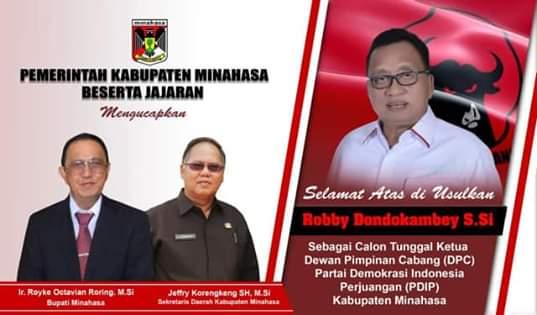 Bupati ROR dan Sekda JRK, Ucapkan Selamat Atas Terpilihnya RD Sebagai Ketua DPC PDIP Minahasa.