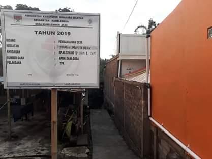Pembangunan Jalan setapak Tahap Pertama Dandes Tahun 2019 Desa Kumelembuai Atas