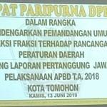 Wenur Pimpin Rapat Paripurna Pemandangan Umum Fraksi terhadap  Ranperda LP APBD 2018