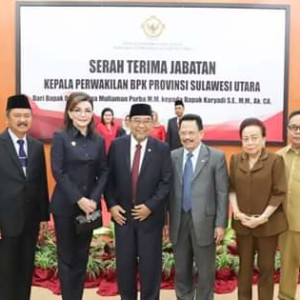 Bupati CEP dan Ketua DPRD Minsel Hadiri Sertijab Kepala BPK RI Perwakilan Sulut