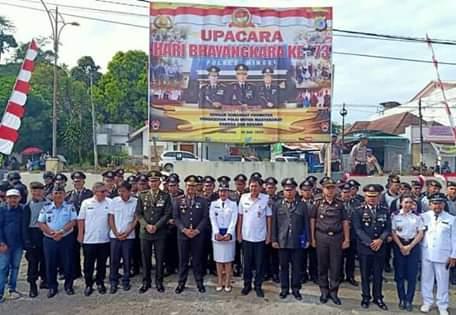 Peringati HUT Bhayangkara ke-73, Polres Minsel Laksanakan Upacara di Polsek Amurang