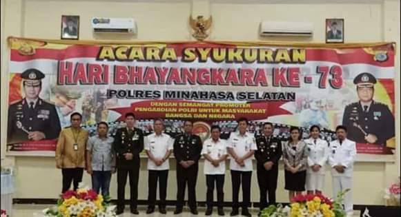 Peringati HUT Bhayangkara ke-73, Polres Minsel Laksanakan Upacara di Polsek Amurang1