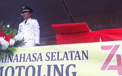 Camat Motoling Irup di upacara detik-detik Proklamasi RI ke-74