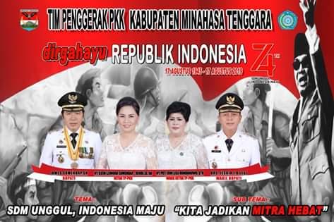 TP-PKK Kabupaten Minahasa Tenggara Mengucapkan Dirgahayu Republik Indonesia ke-74