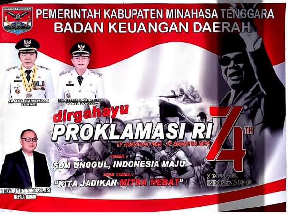 Badan Keuangan Daerah Kabupaten Minahasa Tenggara Mengucapkan Dirgahayu Republik Indonesia ke-74