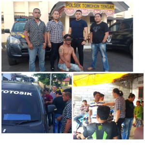 Tim URC Totosik Polres Tomohon saat mengamankan dua lelaki yang berkelahi