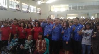 Ketua TP PKK Sulut Rita Tamuntuan Bersama Wagub Kandouw Motivasi 4500 PKH Tomohon