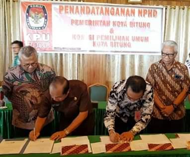 Pertama di Indonesia, Pemkot Bitung Lakukan Penandatangan NPHD Pilkada 2020
