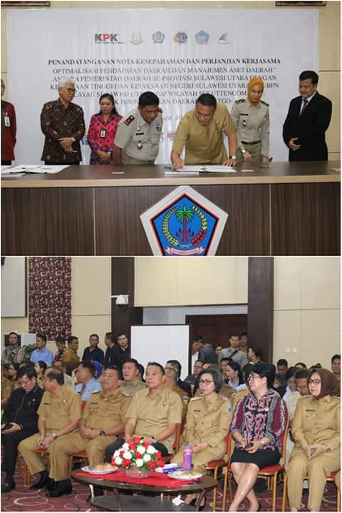 Wali Kota Tomohon menandatangani MoU (atas), Wali Kota Tomohon dan bupati wali kota se-Sulut