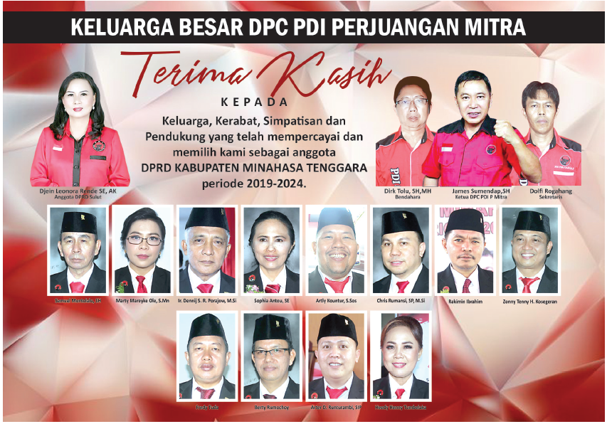 Keluarga Besar DPC PDI-P Mitra Mengucapkan Banyak Terima Kasih Kepada Masyarakat Minahasa Tenggara