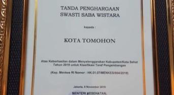 Tomohon Raih Penghargaan Swasti Saba Wistara II