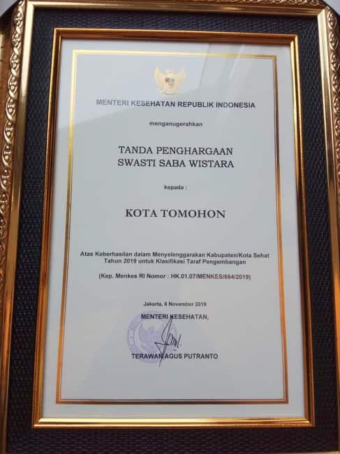 Penghargaan Swasti Saba Wistara bagi Kota Tomohon