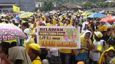 Relawan JFE di sangihe saat memenangkan  Jabes Gaghana-Hemlud Hontong sebagai bupati dan wakil bupati dari Partai Golkar