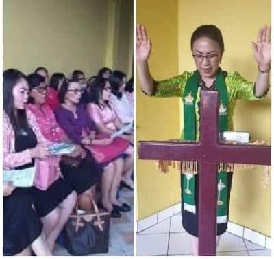 SEkretaris W/KI GMIM Pnt Ir Miky Junita Linda Wenur MAP (MJLW) memimpin Ibadah Kaum Ibu di Hari Valentin