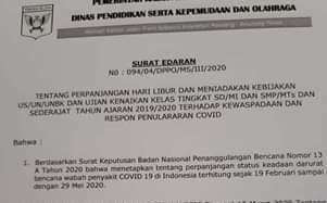 Cegah Penyebaran Covid-19, Dikpora Minsel Perpanjang 'Libur' Sekolah Hingga 29 April 2020