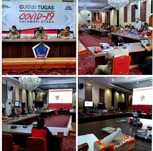 Rapat koordinasi Gugus Tugas penanganan Covid-19 Provinsi Sulut.