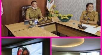 Wali Kota Tomohon Video Conference dengan Gubernur dan KPK