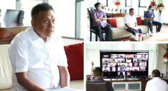 Gubernur Olly Rakor Percepatan Penanganan Covid-19 Lewat Vidcon Bersama Forkopimda Sulut
