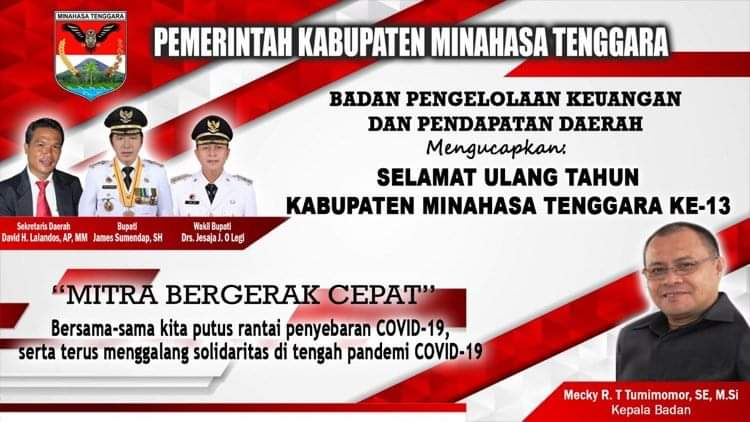 Badan Pengelolaan Keuangan Daerah dan Pendapatan Daerah Ucapkan Selamat HUT Kabupaten Mitra ke-13