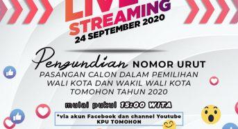 Kehadiran Terbatas, Pengundian Nomor Urut Paslon di Live Streaming Youtube dan Facebook KPU Tomohon